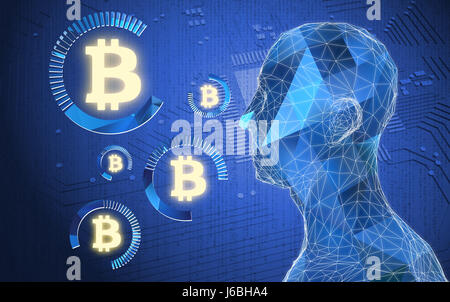Fintech Financial Technology concept image. Digital currencies , cryptocurrency , digital money and bitcoin concept. - Stock Photo