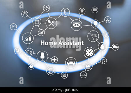 Home advisor , voice recognition , artificial intelligence device and internet of things concept. Technology icons - Stock Photo