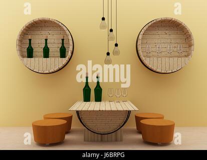 modern interior dining room with oak barrels design in 3D render image - Stock Photo