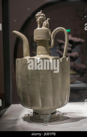 Yaozhou kiln Celadon ewer with a handle. Northern Song Dynasty (960-1127) - Stock Photo