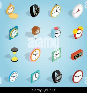 Clock set icons, isometric 3d style - Stock Photo