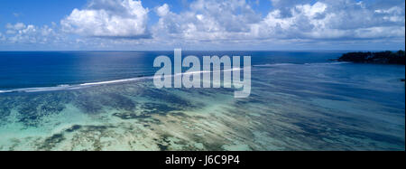 Aerial view of reef, Mahe,Seychelles - Stock Photo