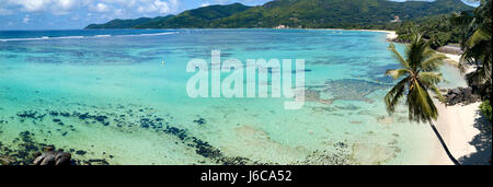 Aerial view of Anse Royale, Mahe, Seychelles - Stock Photo