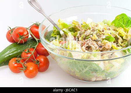 salad with tomatoes,mozzarella and roasted seeds - Stock Photo
