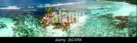 Aerial view of tropical reef, Seychelles