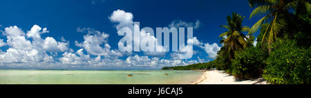 panoramic view tropical beach, Seychelles - Stock Photo