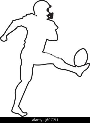 american footbal player silhouette image - Stock Photo