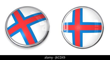 Denmark Faroe Islands Flag BUTTON Pin Badge