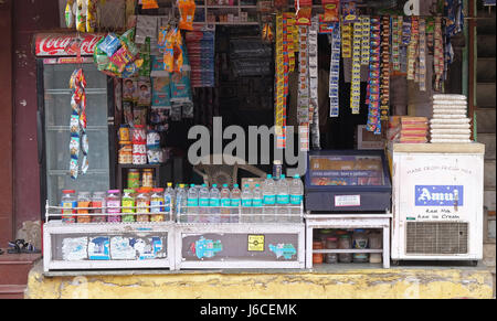 Small street grocery shop which sell many product for daily life in Pushkar, Rajasthan, India on February 17, 2016. - Stock Photo