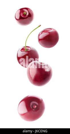 Isolated flying berries. Five falling sweet cherry fruits isolated on white background with clipping path - Stock Photo