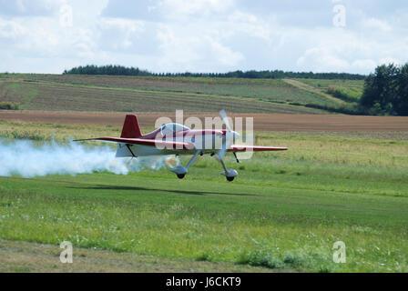 air aircraft aeroplane plane airplane railway locomotive train engine rolling - Stock Photo