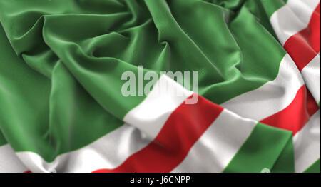 Chechen Republic of Ichkeria Flag Ruffled Beautifully Waving Macro Close-Up Shot - Stock Photo
