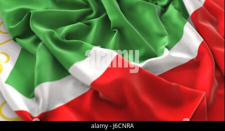 Chechen Republic Flag Ruffled Beautifully Waving Macro Close-Up Shot - Stock Photo