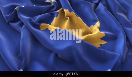 Kosovo Flag Ruffled Beautifully Waving Macro Close-Up Shot - Stock Photo