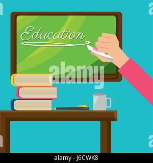 teacher with class board and study tools - Stock Photo