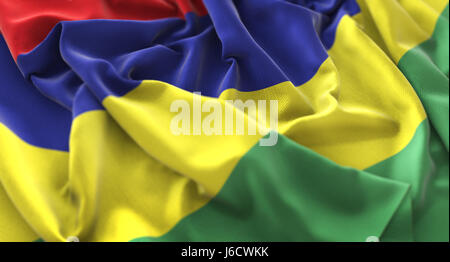 Mauritius Flag Ruffled Beautifully Waving Macro Close-Up Shot - Stock Photo