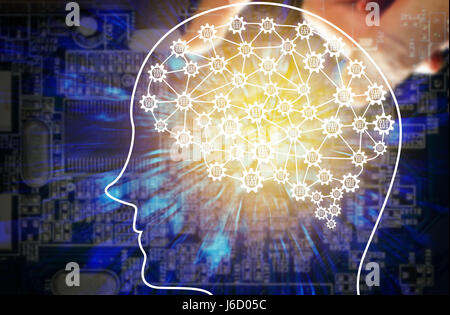 Machine learning and artificial intelligence concept. Fintech Financial Technology concept. Robot brain with binary - Stock Photo