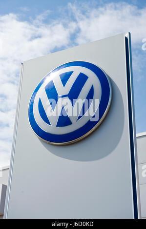 Volkswagen branding on dealership in Newport, South Wales, UK - Stock Photo
