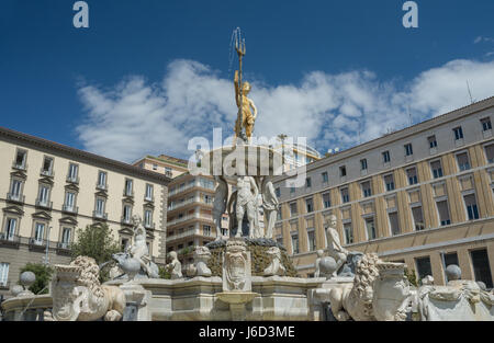Particular of Neptune fountain placed on  the Town Hall Square in Naples- Italy - Stock Photo