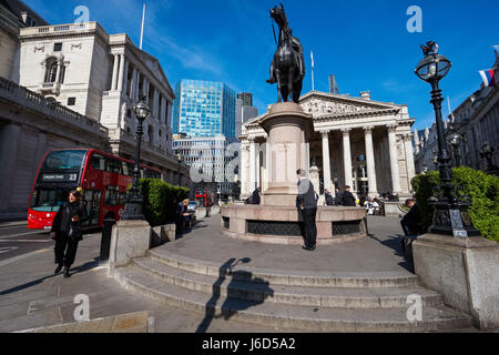 The Bank of England and the Royal Exchange buildings in London England United Kingdom UK - Stock Photo