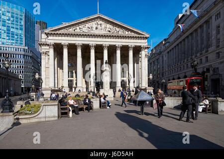 The Royal Exchange building in London England United Kingdom UK - Stock Photo