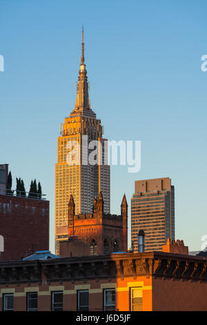 The Empire State Building at sunset. New York City - Stock Photo