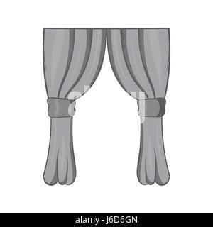 Curtains icon, black monochrome style - Stock Photo