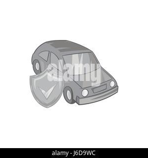Car insurance icon, black monochrome style - Stock Photo
