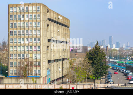 Old council housing block, Robin Hood Gardens, in East London - Stock Photo