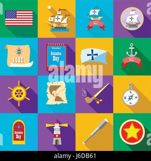 Columbus Day icons set, flatstyle - Stock Photo