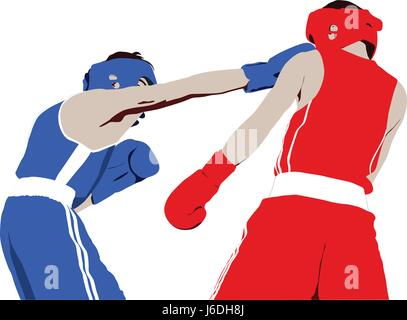 boxer straight right punch to head fight boxing - Stock Photo