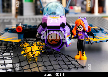 Tambov, Russian Federation - March 04, 2017 Lego DC Super Hero Girls world. Batgirl mini-doll and her Batjet caught - Stock Photo