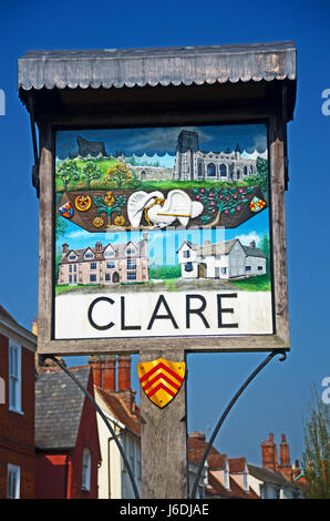 Clare Village Sign, Suffolk - Stock Photo