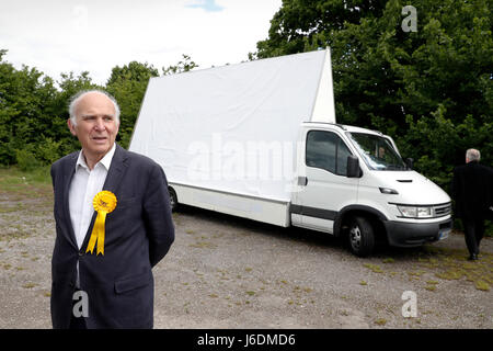 Liberal Democrat candidate Vince Cable out campaigning in Twickenham ahead of Britain's upcoming General Election - Stock Photo