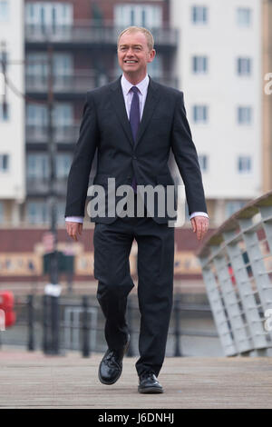 Former leader of the Liberal Democrats Tim Farron in Cardiff Bay to formally launch the 2017 Welsh Liberal Democrat - Stock Photo