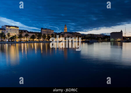 Town Split in dawn; Dalmatia, Croatia - Stock Photo