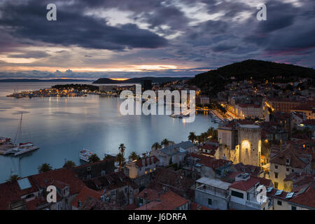 Elevated view on town Split in the evening blue hour, Croatia - Stock Photo