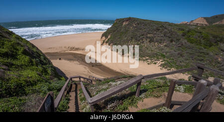 Straight and Long Stair to the Secluded Beach - Stock Photo
