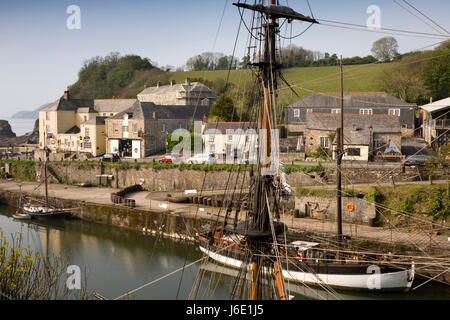 UK, Cornwall, St Austell, Charlestown, sailing ships moored in historic harbour - Stock Photo