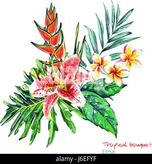 Tropical bouquet. Exotic flowers of lily, plumeria and heliconia with rain forest palm and monstera leaves. Handmade - Stock Photo