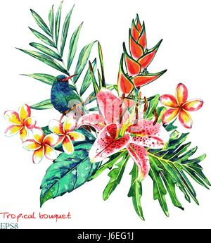 Tropical bouquet. Watercolor exotic plants: flowers of heliconia and plumeria, pink lily, palm branch and hummingbird. - Stock Photo