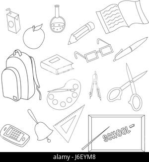 School icons set in outline style - Stock Photo