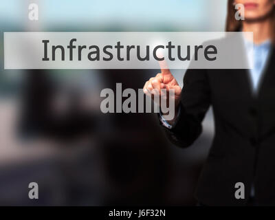 Infrastructure - Businesswoman hand pressing button on touch screen interface. Business, technology, internet concept. - Stock Photo