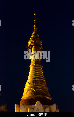 Shwezigon Pagoda at night, Bagan, Myanmar - Stock Photo
