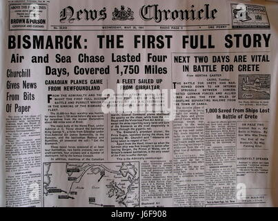 AJAXNETPHOTO. 4TH APRIL, 2009. WORTHING,ENGLAND. - HEADLINE NEWS - How the News Chronicle of 28th May 1941 headlined - Stock Photo