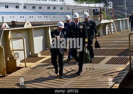 170510-N-GL340-023  RIJEKA, Croatia (May 10, 2017) Cmdr. Albert Benoit, executive officer of the Blue Ridge-class - Stock Photo