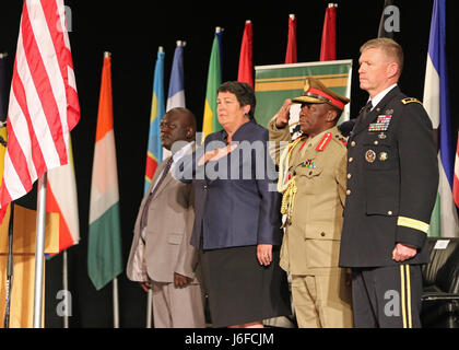 From left to right: Vincent Ghambi, Deputy Minister of Defense for Malawi, Virginia Palmer, American Ambassador - Stock Photo