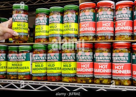 Wisconsin, WI, Upper Midwest, Kenosha County, Kenosha, Tenuta's Delicatessen Liquors and Wines, Italian market, bottles, jars, store brands, pickled v