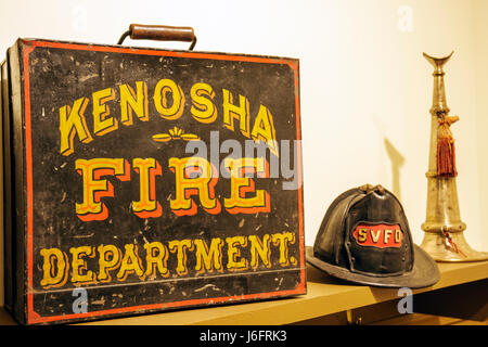 Wisconsin Kenosha Simmons Island Southport Kenosha History Center Yesteryear Gallery fire department helmet horn - Stock Photo