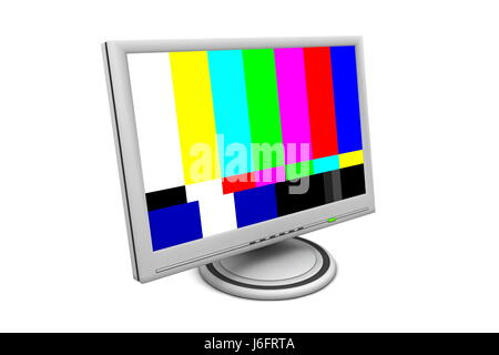 monitor screen television tv televisions pattern computers computer test office - Stock Photo